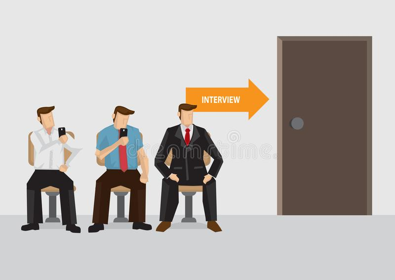Waiting for Job Interview Vector Illustration royalty free illustration