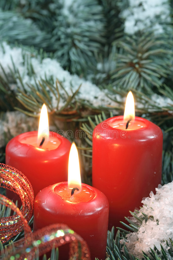 Download Three candles stock photo. Image of three, branch, outdoors - 3523876