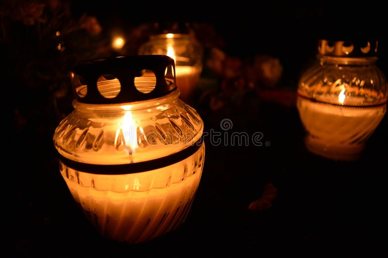 Three candles burning. Memorial royalty free stock photography