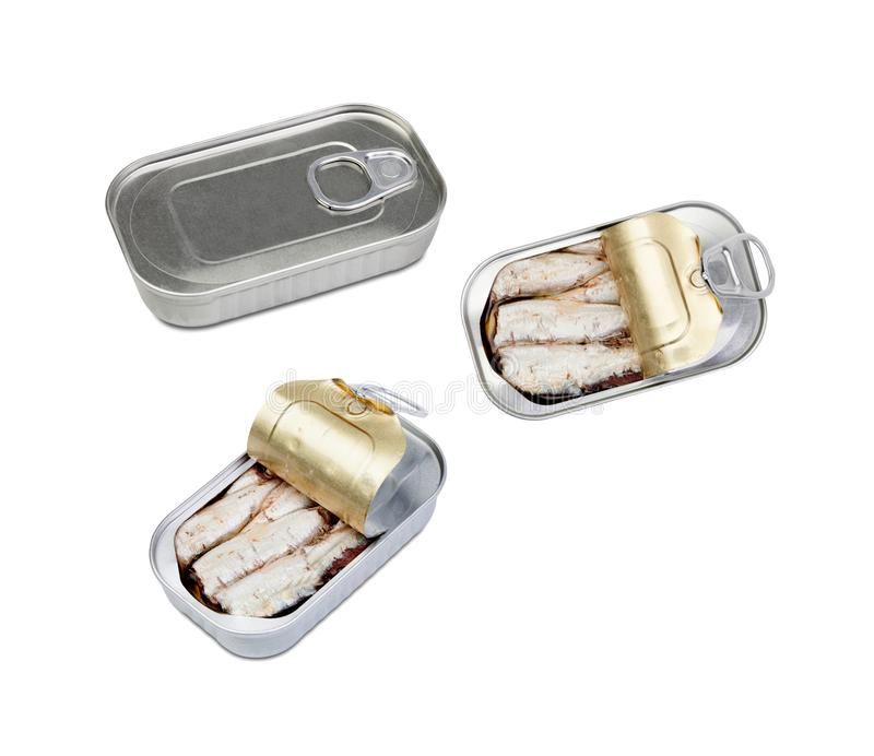 Three cans of canned sardine royalty free stock photo