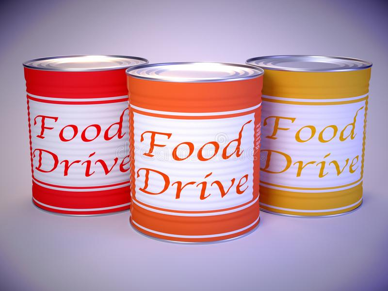 Three cans in red orange yellow on white with the words food drive stock illustration