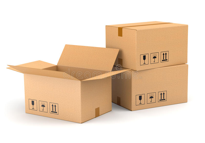 Three cardboard boxes stock photography