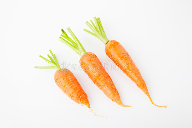 Three carrots in white background stock images