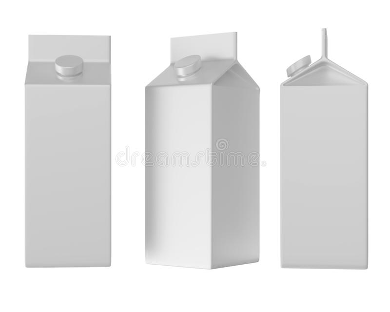 Three cartons of white milk, isolated on white background, three views royalty free illustration