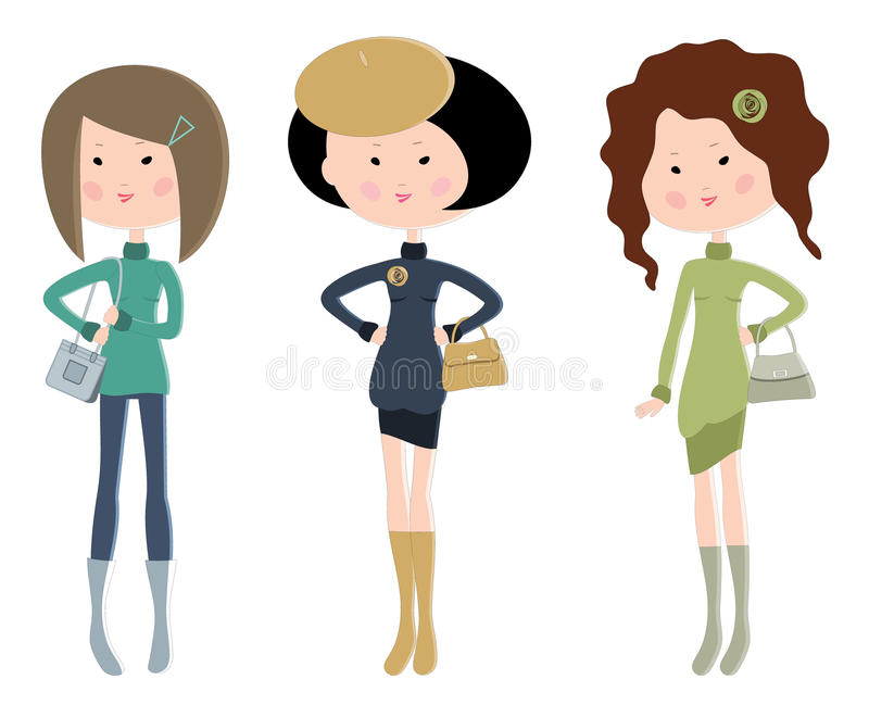 Download Three Cartoon Fashionable Young Women Royalty Free Stock Photo - Image: 27216385