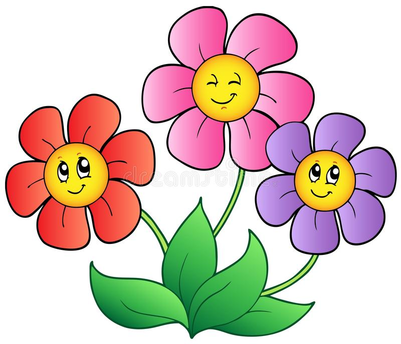 Three cartoon flowers stock vector. Illustration of plant ...