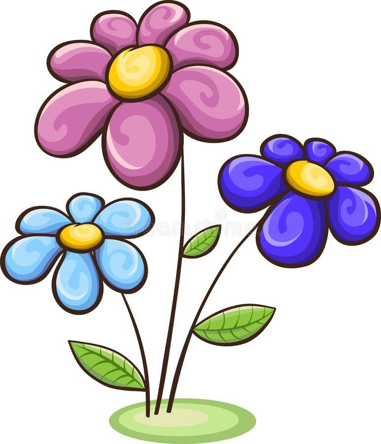 Three cartoon flowers stock vector image