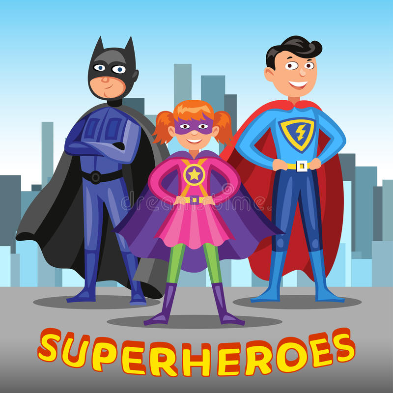 Three cartoon superheroes. Boys and girl in superhero costumes. Three cartoon superheroes. Boys and girl in colorful superhero costumes on city background royalty free illustration