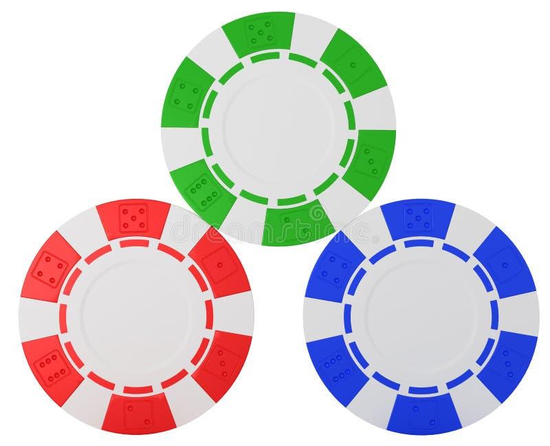 Three Casino chips over white vector illustration