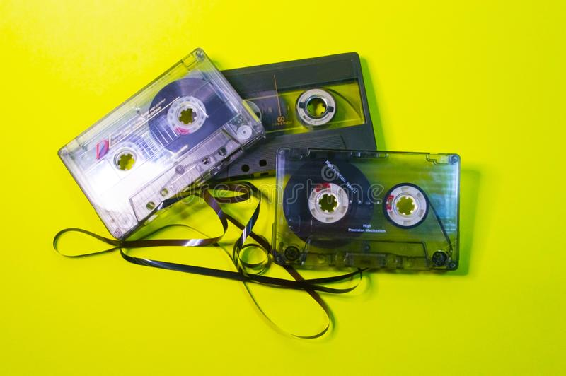 Three cassettes with tangled tape royalty free stock photo