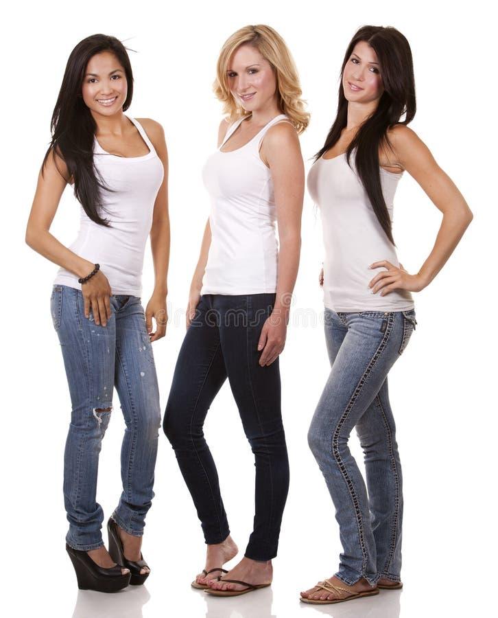 Three casual women stock photography