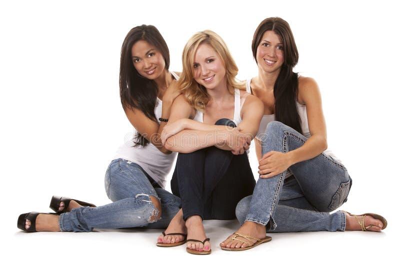 Three casual women royalty free stock photo