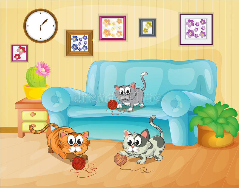 Three cats playing inside the house vector illustration