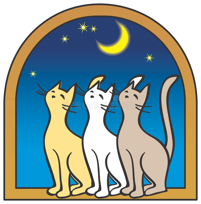Three cats by the window, moon vector illustration