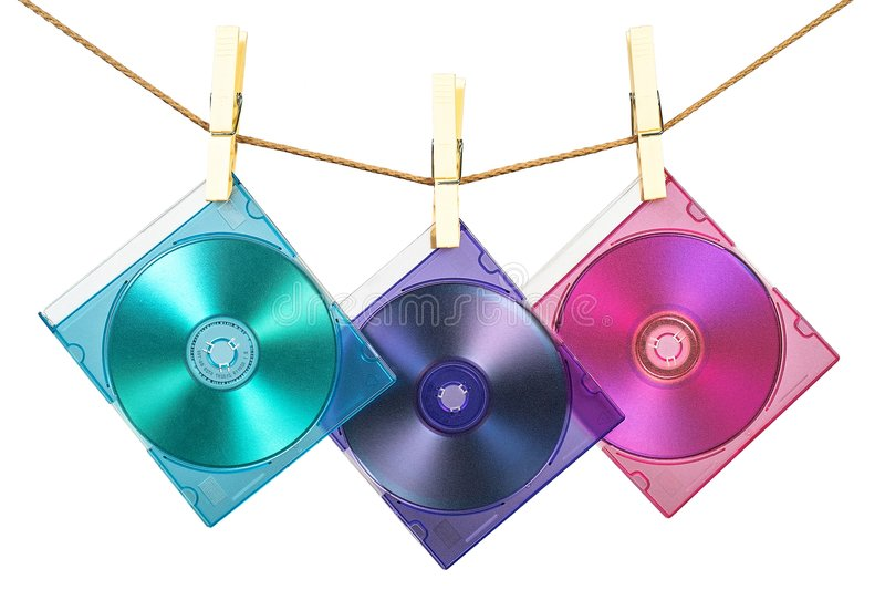 Three CDs in coloful cases fix royalty free stock photo