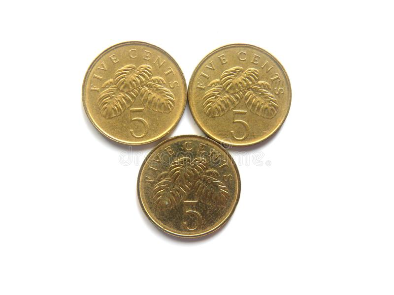 Three 5 cents Singapore coins royalty free stock photography