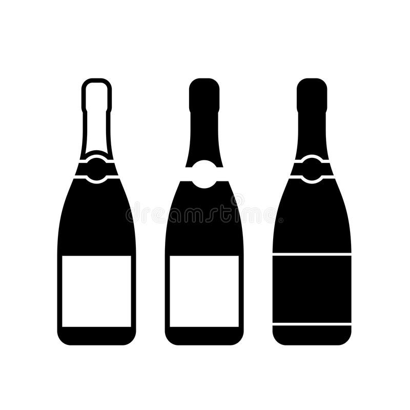 Three champagne bottles vector icon vector illustration