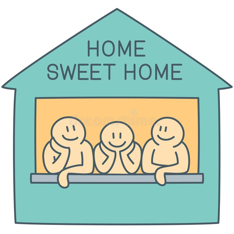 Three characters on the window of sweet home - vector line art illustration royalty free stock photography