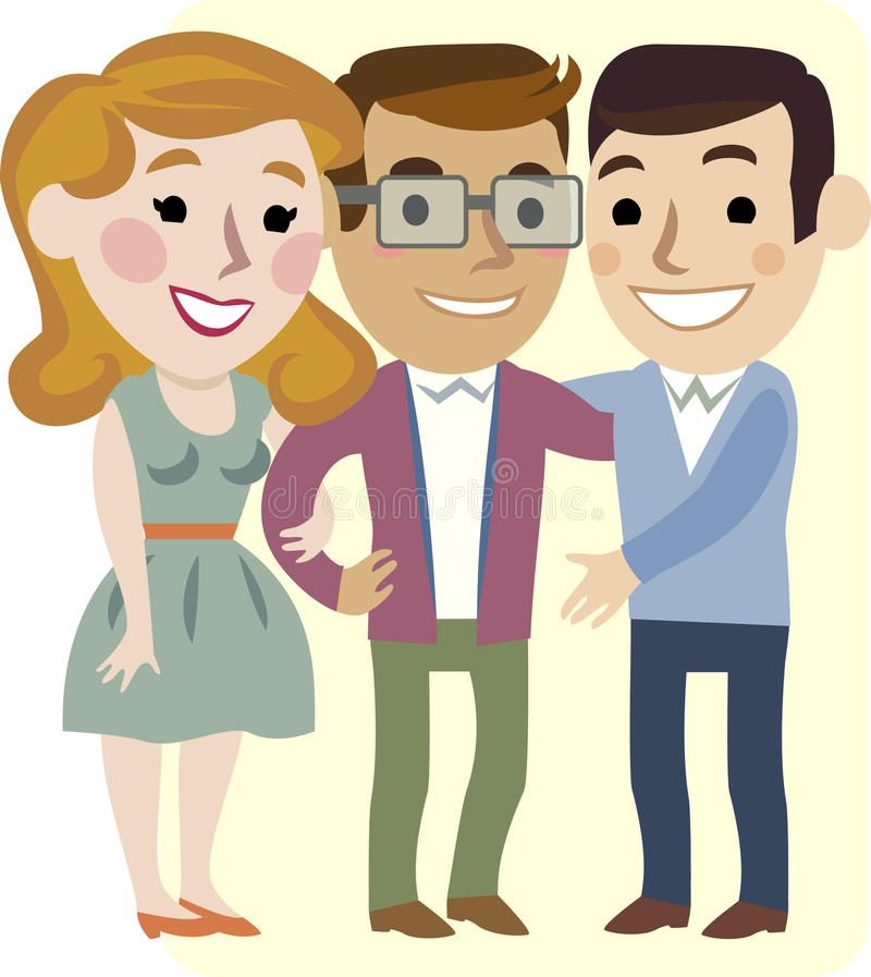 Three cheerful friends. Two men and a woman royalty free illustration