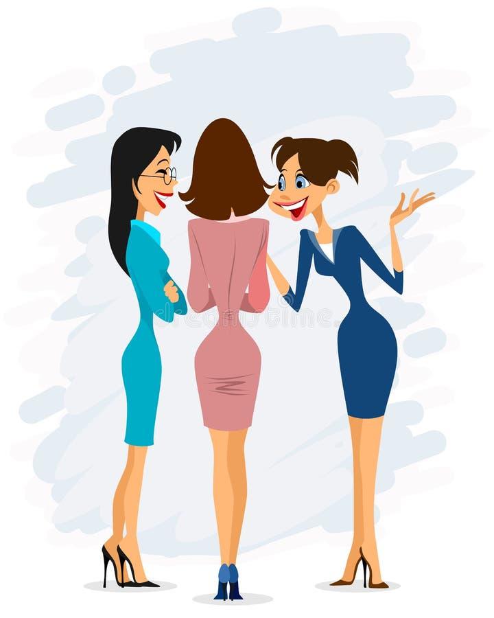 Three cheerful gay women gossiping