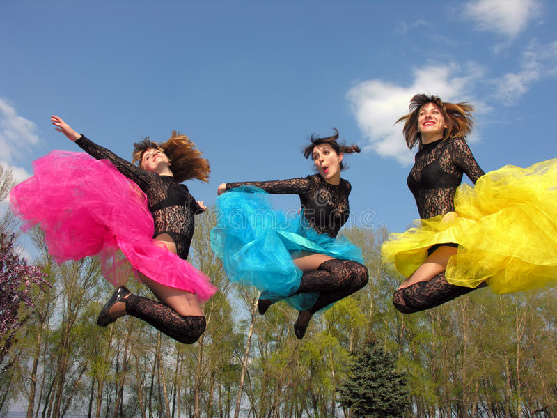 Download Three Cheerful Showgirls Outdoors Stock Photo - Image of clothing, dancer: 23876484