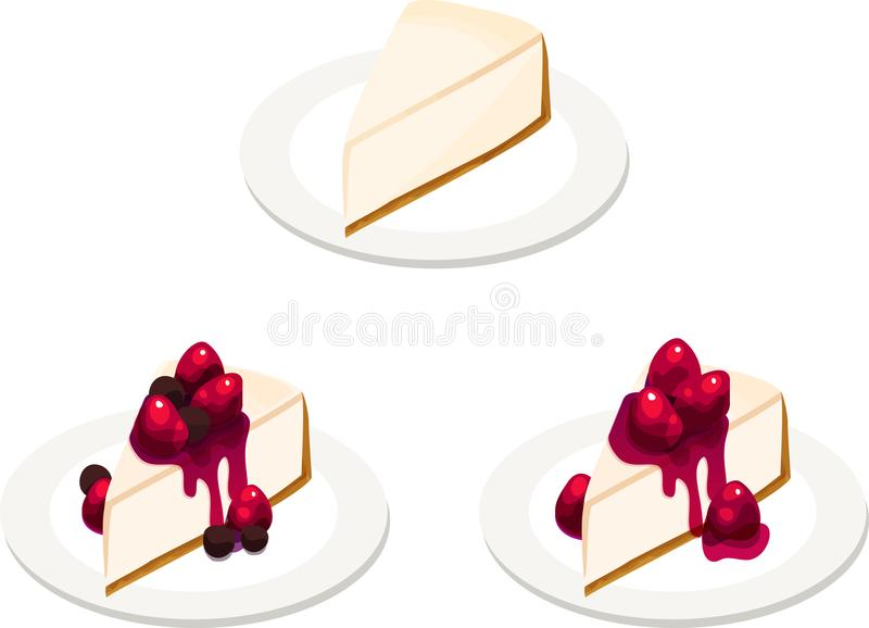 Three Cheesecake Slices with Various Toppings. Three plates with various slices of cheesecake. Classic plain, mixed berry, and strawberry. Isolated vector stock illustration