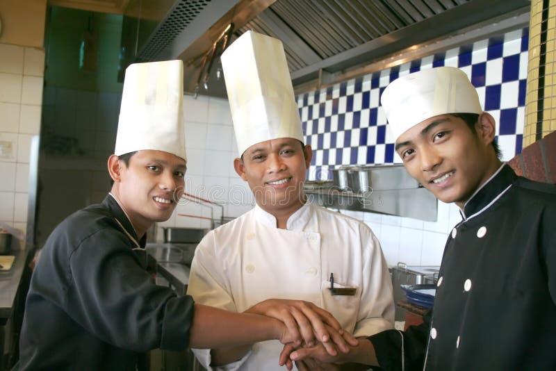 Three chef royalty free stock photography