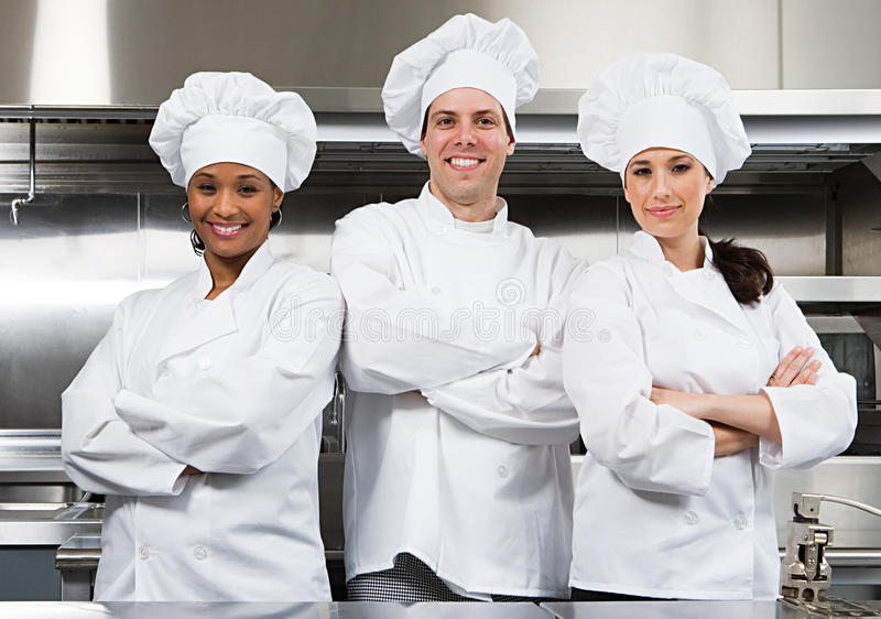 Three chefs stock images