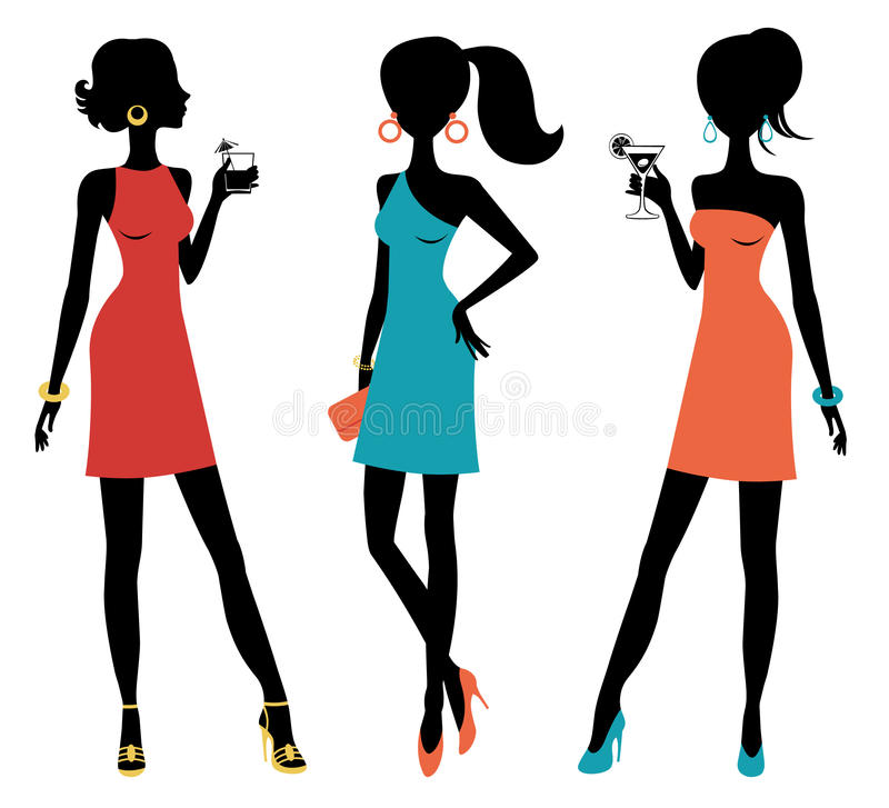Three chick women posing at a party. A vector illustration of three chick women posing at a party stock illustration