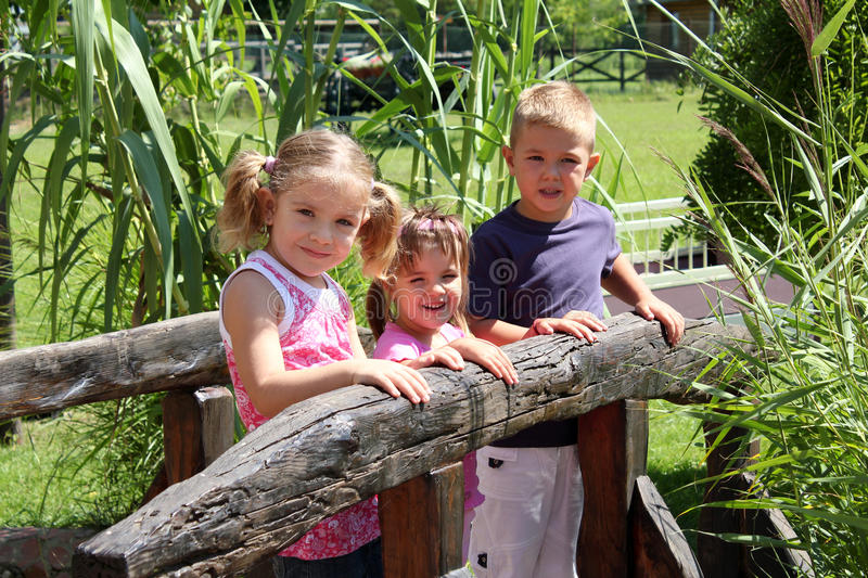 Download Three children stock photo. Image of outside, park, happy - 20857394