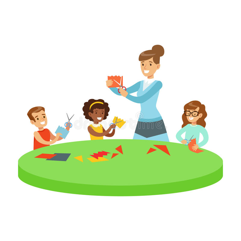 Three Children In Art Class Crafting Applique Cartoon Illustration With Elementary School Kids And Their Teacher In. Creativity Lesson. Happy Schoolkids Doing stock illustration