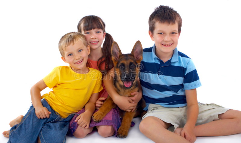 Three Children And Dog Stock Photo