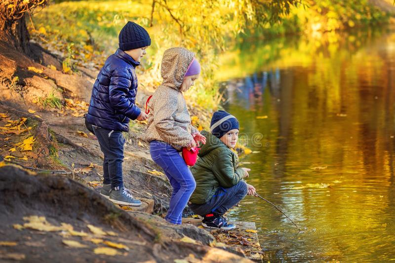Three children friends playing fishing with sticks near pond in beautiful golden fall park. Little siblings having fun. Near lake or river in autumn. Happy stock photo