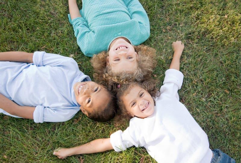 Three Children Having Fun. Three Little Children Having Fun in the Grass stock images