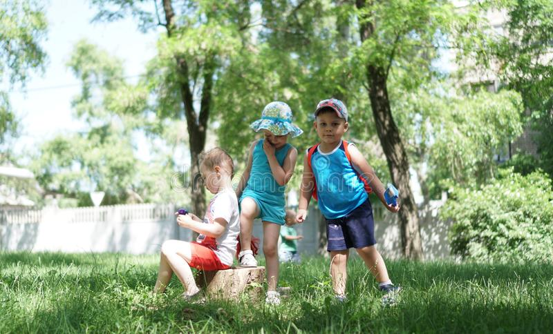 Three children in the park near stump. Two boys and a girl happy together stock photography