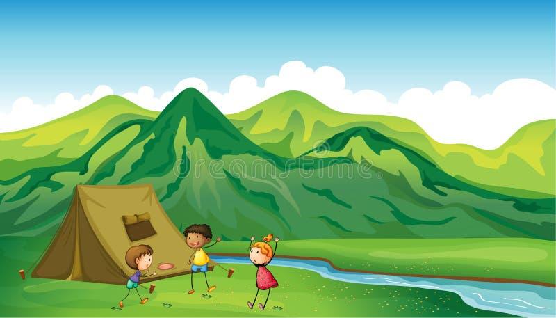 Three children playing vector illustration