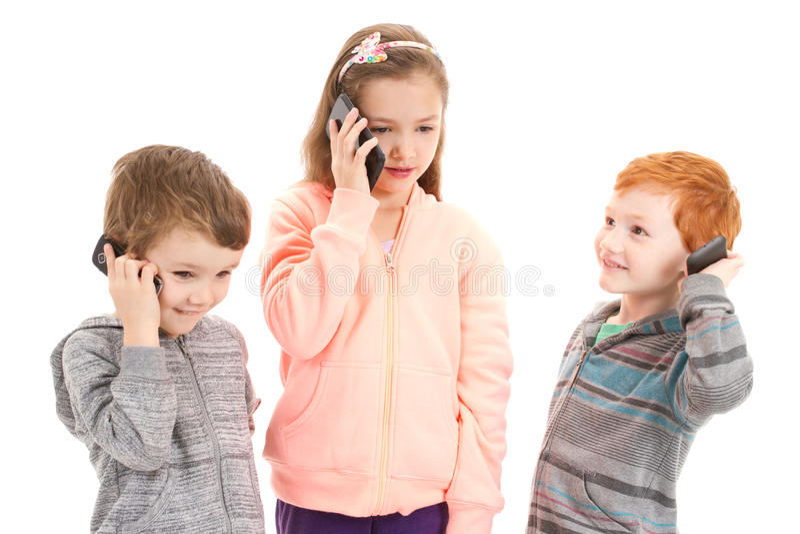 Download Three Children Talking On Kids Mobile Phone Stock Image - Image: 31464261