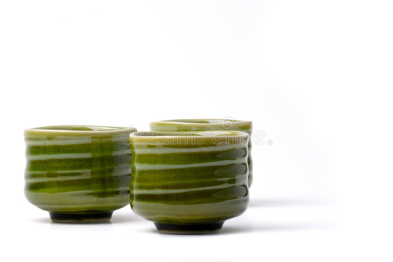 Three chinese tea cups royalty free stock photo