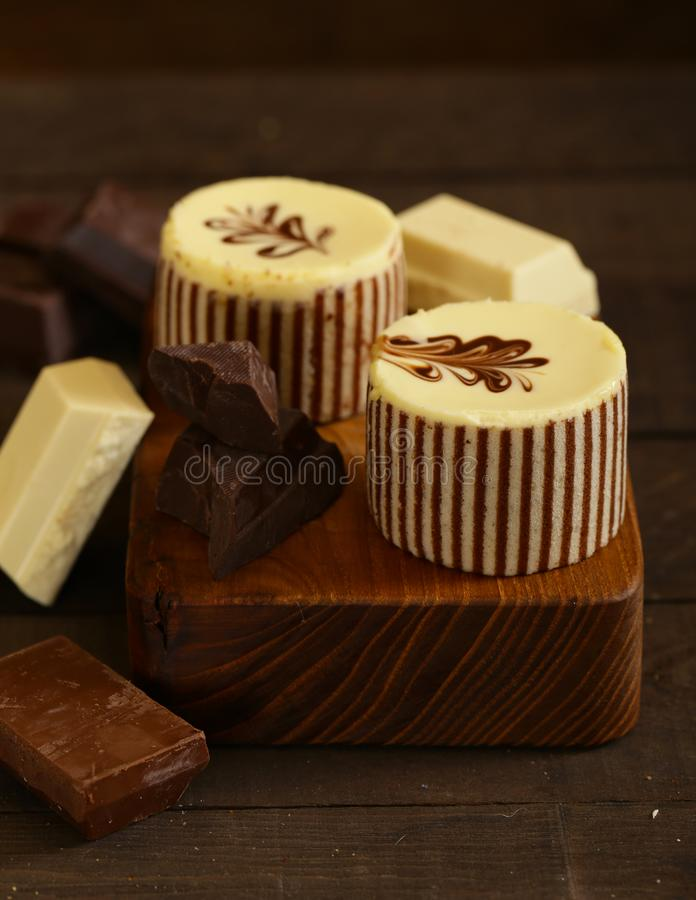Three chocolate cake stock images