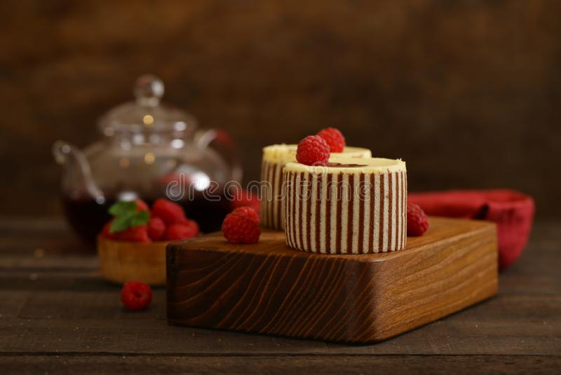 Three chocolate cake royalty free stock photography