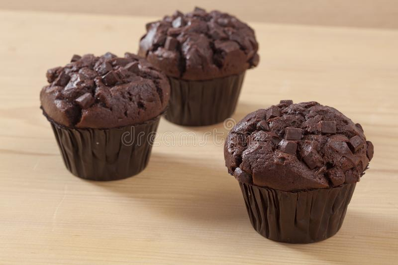 Three chocolate piece muffin royalty free stock images