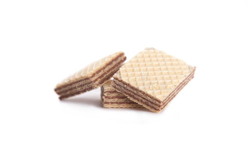 Download Three Chocolate Wafers On A White Background Stock Image - Image of appetizing, close: 39500199