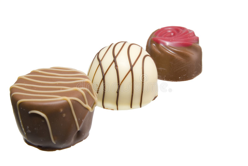 Three chocolates stock photography
