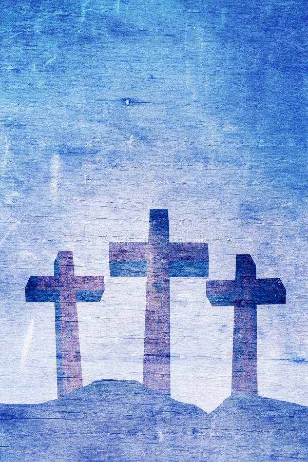 Three Christian Crosses on Calvary Background Illustration vector illustration
