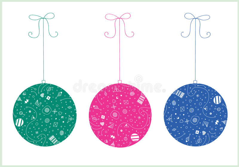 Download Three christmas ball stock vector. Image of style, blur - 32387580
