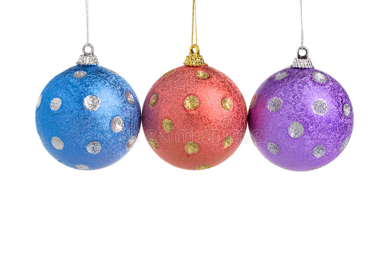 Three Christmas balls royalty free stock photo