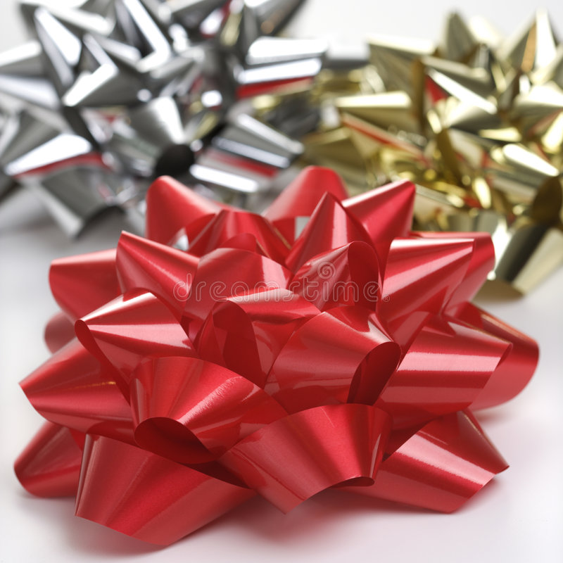 Three Christmas bows.