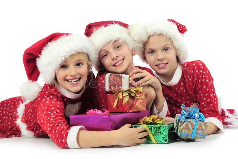 Three Christmas Girls Stock Photo