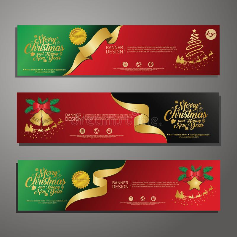 Three Christmas horizontal banners with santa claus, jingle bells, ribbons and stars. New year and Christmas card illustration on stock illustration