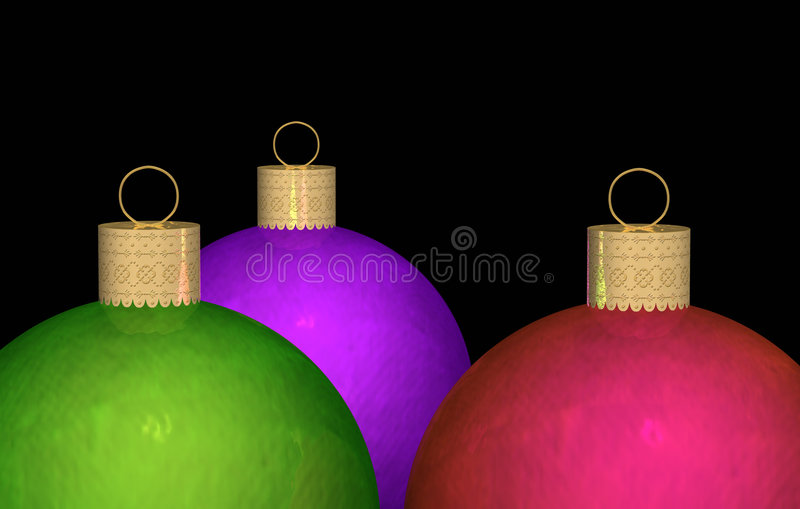 Three Christmas Ornaments. Three vivid jewel tone color Christmas ornaments on black background. Round ball metallic ornaments are in deep rich colors of green vector illustration